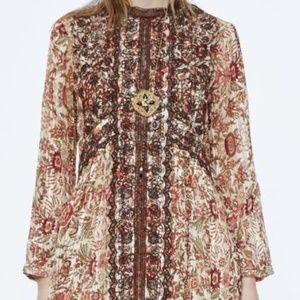 Zara Premium Printed & Embroidered Dress